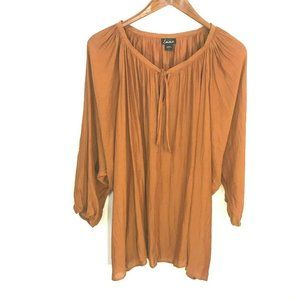 simply emma tie neck dolman sleeve peasant blouse